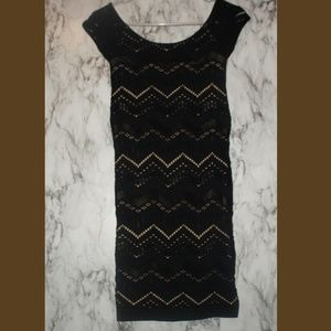 Bebe Black Bodycan Bandage Dress Size PS LBD